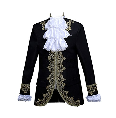 ROLECOS Mens Prince Charming Costume Royal Tuxedo Luxury Dress Blazer Pants Black S -