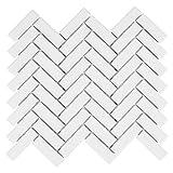 1x3 High Gloss Polished Finish White Herringbone Porcelain Mosaic Tile Walls and Floors (10 Pack)