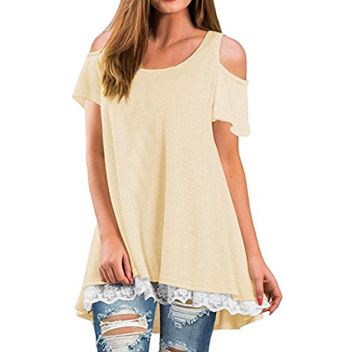 Women Shirt Dress Short Sleeve,Lelili Fashion Lace Patchwork Crewneck Pleat Swing Blouse Tops Sweatshirt (L, Beige) ()