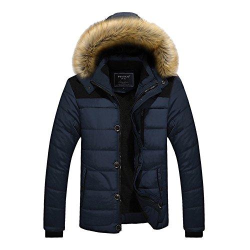 Men Hooded Jacket Winter Coat Parka Jacket Sweater Jacket with Removable Hat Cotton Padded Coats Red Black Blue Khaki M-5XL Kootk Blue