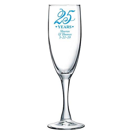 25th Anniversary Champagne - Personalized Color Printed Champagne Flute - 25th Anniversary - Blue - 144 pack