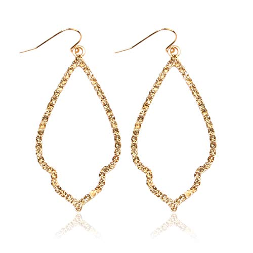 - MYS Collection Rhinestone Moroccan Floral Lightweight Open Hoop Dangles - Sparkly Geometric Cut-Out Drop Earrings Scalloped, Moroccan, Quatrefoil Clover (Moroccan Teardrop - Gold Topaz)