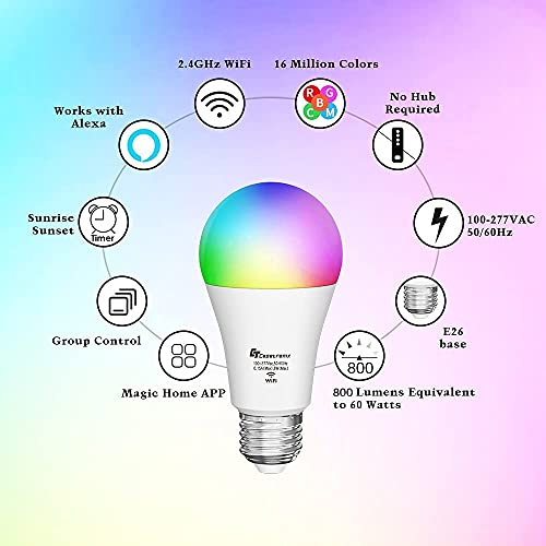 Smart Bulb, Alexa Light Bulb Work with Alexa,Google Home Echo Dot(No Hub Required), WiFi Color Changing Light Bulb, RGBCW A19 E26 Equivalent 60W, Dimmable, 2.4Ghz only, 2 Pack CT CAPETRONIX