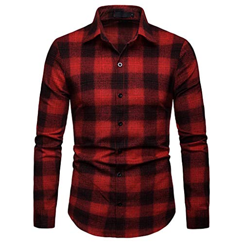 Fxbar,Fashion Casual Men's Jackets Blouse Lattice Painting Tee Tops(Red,M) ()