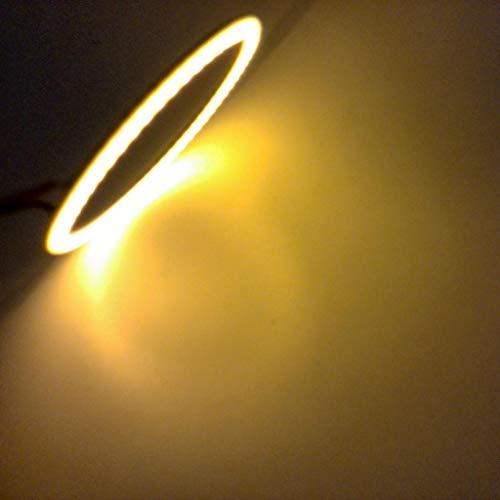 (Glumes 90mm LED Headlights Bulb with White Halo Angel Eye Ring DRL & Amber Turn Signal Lights for Jeep Wrangler JK LJ CJ Hummer H1 H2 2pcs (Yellow))