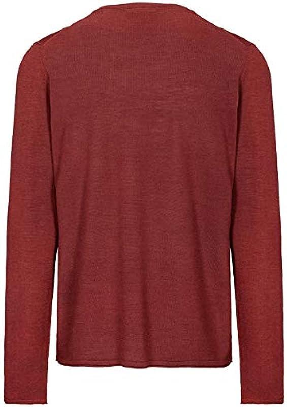BASEFIELD wełna z merynosÓw okrągły dekolt sweter - Wine Melange: Odzież