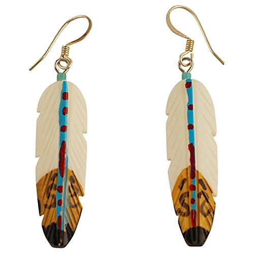 Silver Plated Hand Painted Bone Feather Earrings ()