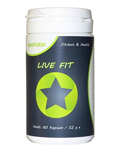 Live Fit - sportstar - natürlicher Fatburner + Stimmungsaufheller (Serotonin-Booster): Schnell und gesund Abnehmen (60 Kapseln/1-Monatspackung) - Diät, Appetitzügler, Gewichtsverlust - Spitzenqualität hergestellt in Deutschland - Bonus: 14 Tage Sport- und Ernährungsplan gratis als Download