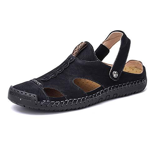 Noir 48 EU HUOGUOYIN-chaussures Réglable Chaussures de randonnée pour Hommes en Cuir décontractées à Bout fermé Chaussures de randonnée en Plein air de pêcheur Légères Chaussures Anti-Collisi