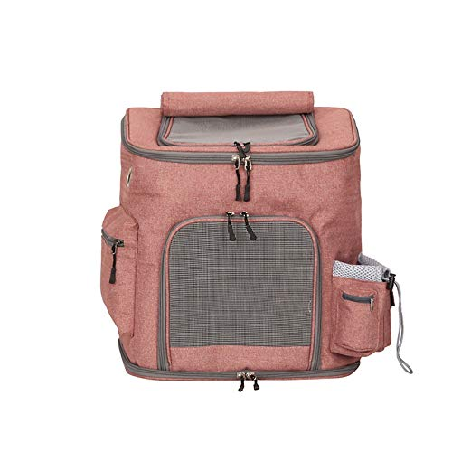 Little east Breathable Pet Backpack Portable Medium Dog Out Bag Walking Tour Shopping Cat Bag 383139cm (Color : Shrimp red)