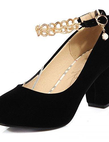 ZQ Zapatos de mujer-Tac¨®n Robusto-Tacones-Tacones-Oficina y Trabajo / Vestido / Casual-Semicuero-Negro / Rojo , red-us10.5 / eu42 / uk8.5 / cn43 , red-us10.5 / eu42 / uk8.5 / cn43 red-us3.5 / eu33 / uk1.5 / cn32