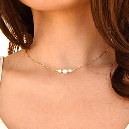 (Fstrend Fashion Necklace Dainty Pearl Simple Choker Chain Charms Necklaces Jewelry for Women and Girls (Gold))