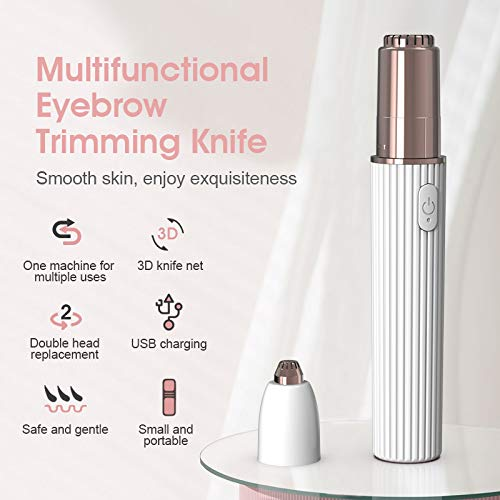 Rechargeable Eyebrow Trimmer & Facial Hair Remover for Women, 2 in 1 Eyebrow Razor and Painless Hair Remover, Eyebrow Lips Body Facial Hair Removal for Women (Purple)
