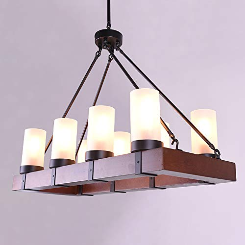 Alabaster 8 Light Chandelier - NIUYAO Industrial 8-Lights Pendant Light Wood Island Lighting Vintage Style Rectangular Chandelier Rustic Ceiling Lamp with Alabaster Glass Shade for Dining Room Kitchen Living Room