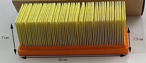 Aspirapolvere filtro piano plissettato dell'aria compatibile con KARCHER 2501, 2601, 3001, E3001, 3001HOT, 2701, A2731 PT, 2801, SE 2001, SE 3001 etc.- Sostituzione Aspirapolvere Filtro - vuoto Accessori - 20 x 7.5 cm BSD