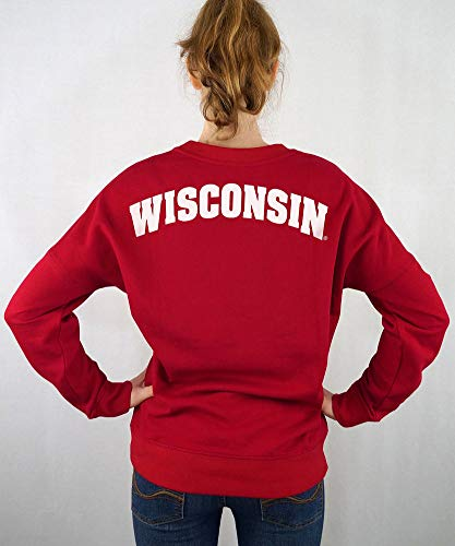 Elite Fan Shop Wisconsin Badgers Women's Crewneck Sweatshirt Captain Red - ()