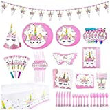 (90 pack) Unicorn Themed Party Supplies Set Girl Birthday Decorations Disposable Tableware For Kids Table Cover Napkins Plates Cups Banner Invitation Cards Party Favor (Pink Unicorn)-s