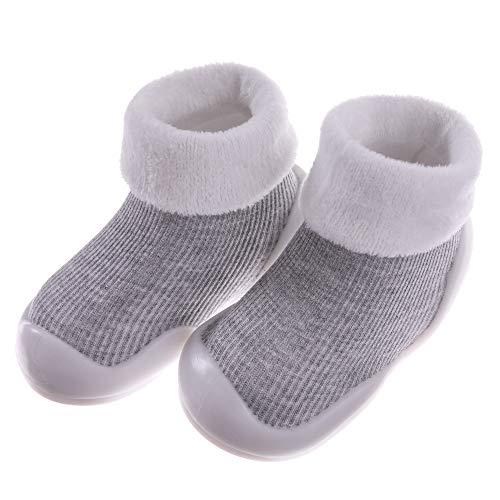 (SCOWAY Baby Boys Girls Soft Rubber Bottom Anti-Slip Slippers Socks Infant Toddler Warm Winter Floor Shoes Socks Moccasins (S / 6-12 Months, Dark Gray) )