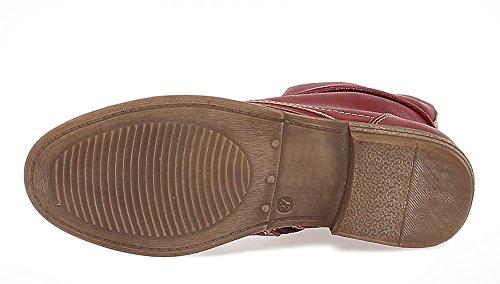 Damen Boots Stiefeletten Schuhe Schnürer 166 Rot