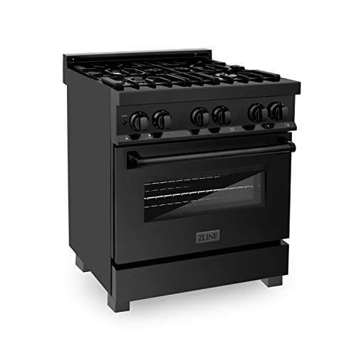 ZLINE 30″ 4.0 cu. ft. Dual Fuel Range with Gas Stove and Electric Oven in Black Stainless Steel (RAB-30)
