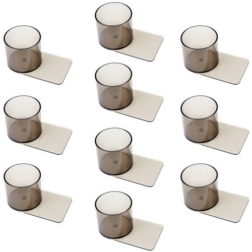 Lot of 10 Smoke-Colored, Slide Under Plastic Cup Holders by Brybelly