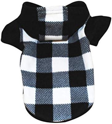 MRQXDP zwart-wit sweatshirt met vierkant patroon voor Pet Dog Soft Vest Clothes Puppy Clothing borstomvang 50 cm ruglengte 34 cm