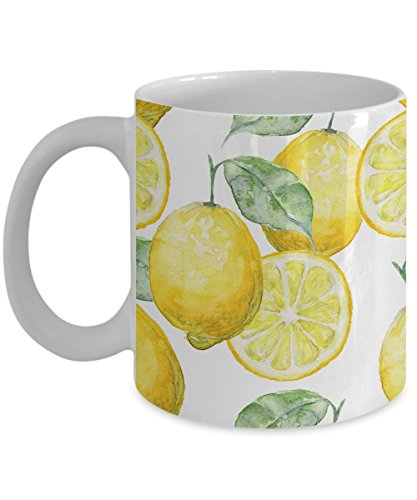 Watercolor Seamless Background Of Lemons Coffee Mug, White, 11 oz - Unique Gifts By huMUGous