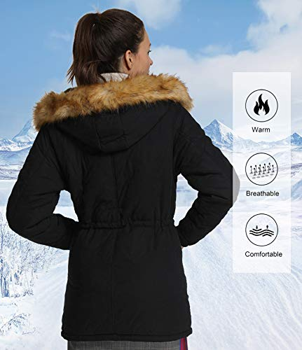 4HOW Womens Parka Jacket Hooded Warm Winter Coat Faux Fur Trim Long Parkas Outdoor FashionCoat Black Size 8
