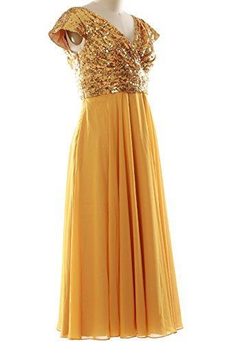 MACloth Cap Sleeve V Neck Sequin Chiffon Tea Length Bridesmaid Dress Formal Gown Rose Gold-Ivory