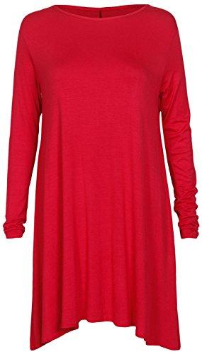 Damen Einfarbiger Kittel Swing Damen Oberteil Tunika Ausgestellt Minikleid Übergrößen 8-22 - Rot, EU 44/46