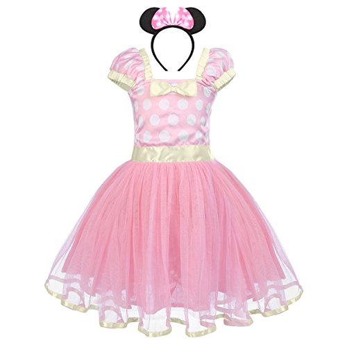 IBTOM CASTLE Baby Girls' Polka Dots Christmas Birthday Princess Leotard Party Cosplay Pageant Fancy Costume Tutu Dress up Mouse Ears Headband Pink+3D Ears 12-18 Months -