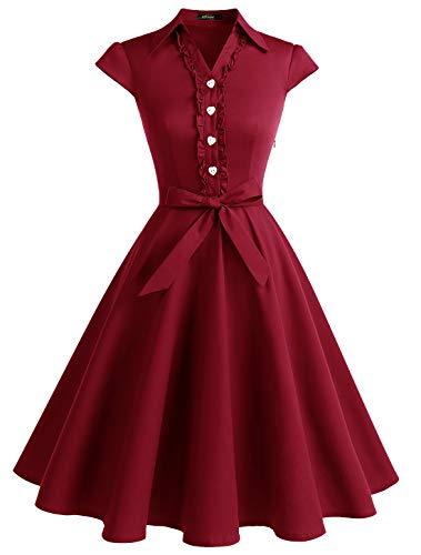 Vintage Retro Fashion (Wedtrend Women's 1950s Retro Rockabilly Dress Cap Sleeve Vintage Swing DressWTP10007DarkRedL)