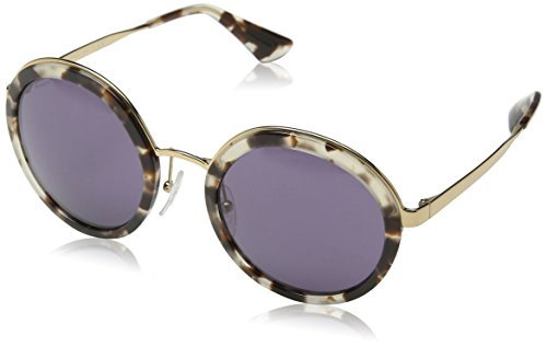 (Prada Women's Round Sunglasses, White Havana/Violet, One Size)