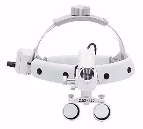 Ocean Aquarius 2.5X420mm Dental Medical Loupes Leather Headband+5W Surgical LED Headlight DY105 (White)