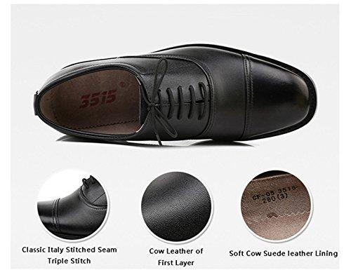 QiangRen , Chaussures de ville à lacets pour homme Noir noir