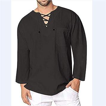 DZQCLB Camisa de Hippie de Lino y algodón Casual Suelta para ...