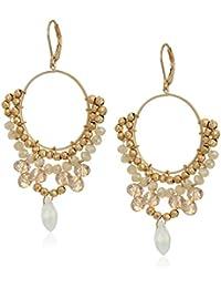 Women's Gold Tone Neutral Beaded Chandelier Earrings, One Size