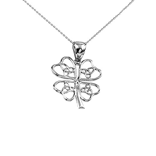 925 Sterling Silver Open Design Trinity Knot Lucky Four-Leaf Clover Pendant Necklace, 20