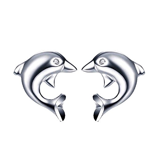 Mirabella BellaMira 925 Sterling Silver Dolphin Studs with Fine Crystal Earrings Jewellery for Women Girls in Gift Box