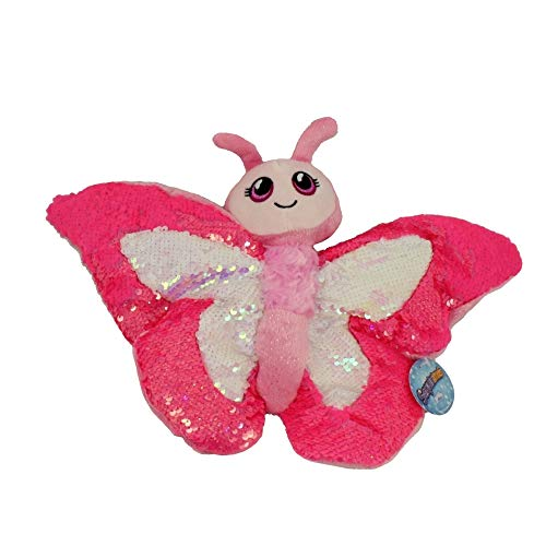 Sequinimals Sequin Pink Butterfly Plush Stuffed Animal by Reversible Sequins Hot Pink & Silver