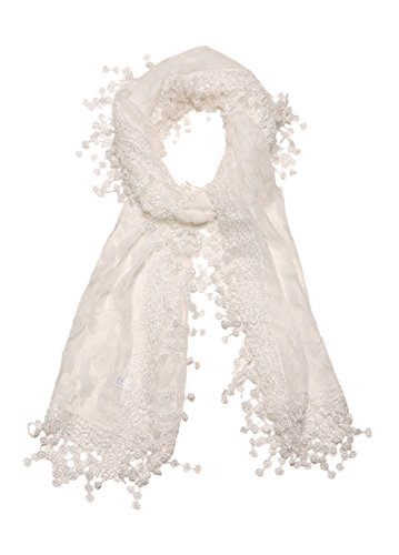 Cindy and Wendy Lightweight Soft Leaf Lace Fringes Scarf shawl for Women,White,One Size by Cindy and Wendy (Image #3)