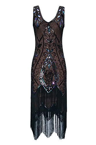 Metme Women's 1920s Vintage Flapper Fringe Beaded Great Gatsby Party Dress (XXL, Brown)]()