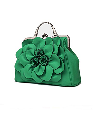 Flower 3D Wedding Purse for Crossbodybag Lilac Evening Tote Leather Women's with Green Satchel Handbags Clutch Floral Bags Party g6ptI