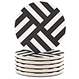 Coasters for Drinks 6-Piece Absorbent Stone Coasters set, Dark Grey-Lines''drink'' spills coaster for Drink