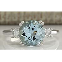 Women Fashion 925 Silver Round Cut Aquamarine Gem Ring Wedding Jewelry Size 6-10 By jindaporn (7)