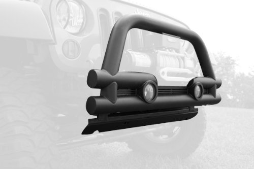 Rugged Ridge 11561.12 Textured Black Front Stubby Tube Bumper with Grill Guard ()