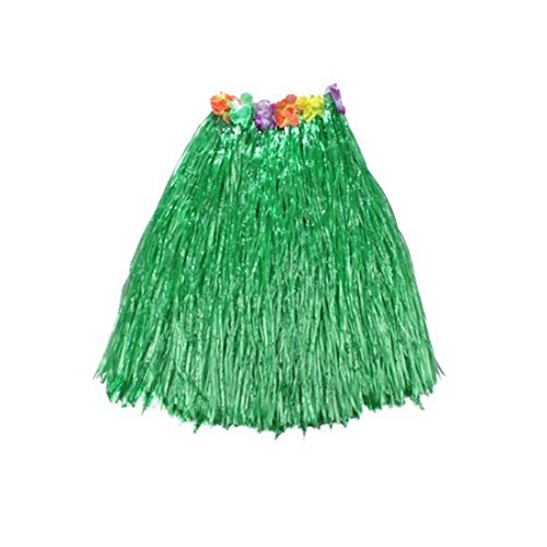 [Kid's Plastic Luau Hula Skirts Floral Waistbands Party Skirts Artificial Grass (Green)] (Tahitian Dancers Costumes)