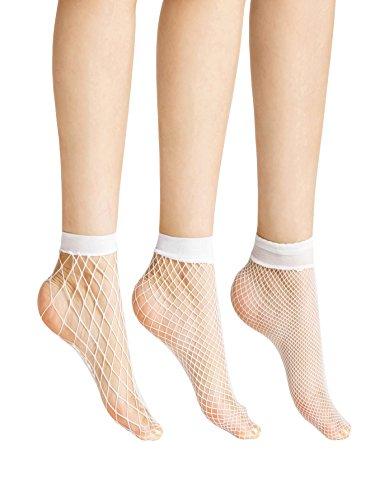 Milumia Women's Striped Cuff Sheer No Show Ankle Socks 3 pairs White (White Fishnet Nylon)