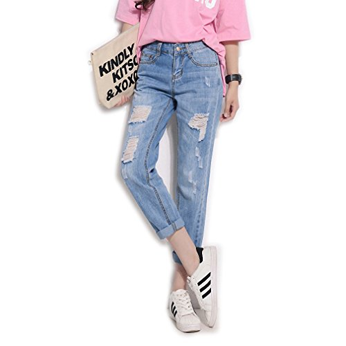 Hightybee2e Spring and Autumn Jeans Solid Color Loose In The Waist Straight Pants Blue 25 (Morph Suit Price)