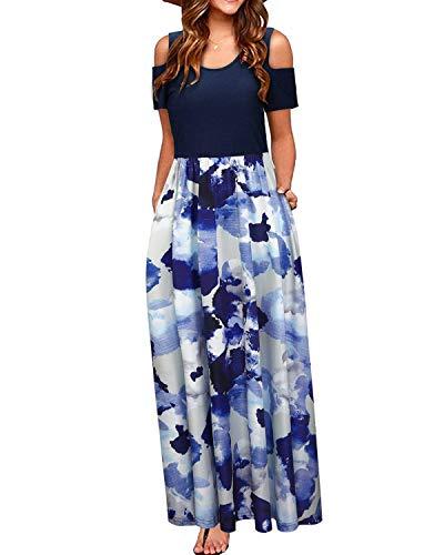 (STYLEWORD Women's Summer Cold Shoulder Floral Print Elegant Maxi Long Dress with Pocket(Floral13,XL))